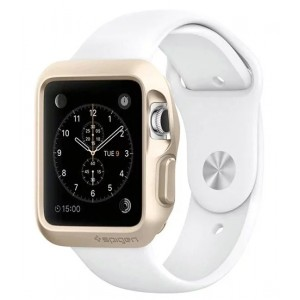 Силиконовый ударостойкий чехол с дополнительной защитой Digital Crown и задней поверхности для Apple Watch 38мм Бежевый