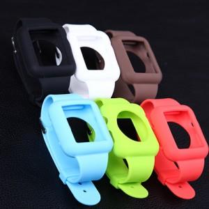 Цельный силиконовый чехол с ремешком на металлической пряжке для Apple Watch 42мм