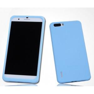 Силиконовый матовый софт-тач премиум чехол для Huawei Honor 6 Plus Голубой