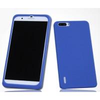 Силиконовый матовый софт-тач премиум чехол для Huawei Honor 6 Plus Синий