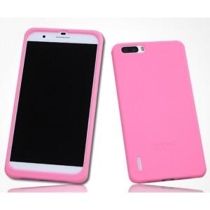 Силиконовый матовый софт-тач премиум чехол для Huawei Honor 6 Plus Розовый