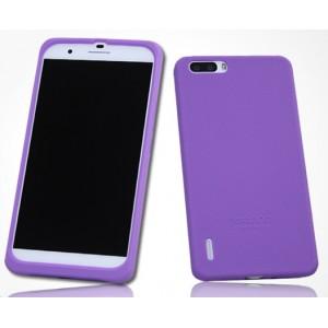 Силиконовый матовый софт-тач премиум чехол для Huawei Honor 6 Plus Фиолетовый