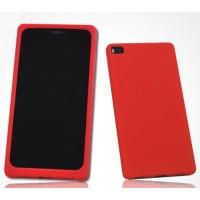 Силиконовый матовый софт-тач премиум чехол для Huawei P8 Красный