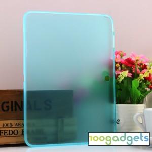 Силиконовый матовый полупрозрачный чехол для Samsung Galaxy Tab 4 10.1 Голубой