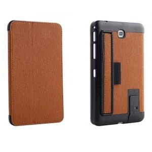 Кожаный текстурный чехол подставка с держателем для руки для Samsung GALAXY Tab 4 7.0 Коричневый