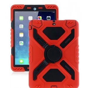 Гибридный антиударный чехол подставка силикон/поликарбонат для Ipad 2/3/4 Красный