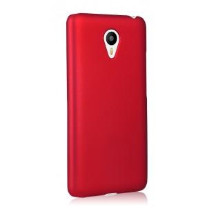 Пластиковый матовый непрозрачный чехол для Meizu M2 Note Красный
