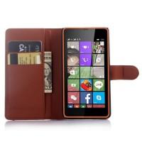 Чехол портмоне подставка с защелкой для Microsoft Lumia 540 Коричневый