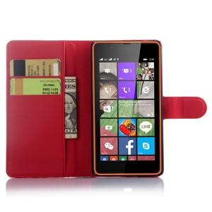 Чехол портмоне подставка с защелкой для Microsoft Lumia 540 Красный