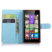 Чехол портмоне подставка с защелкой для Microsoft Lumia 540 Голубой