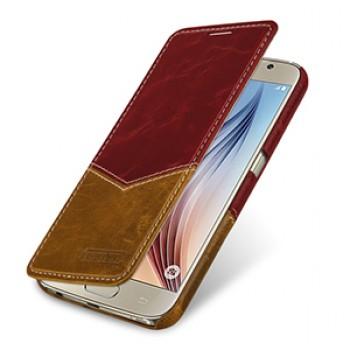 Эксклюзивный кожаный чехол горизонтальная книжка (2 вида кожи) для Samsung Galaxy S6