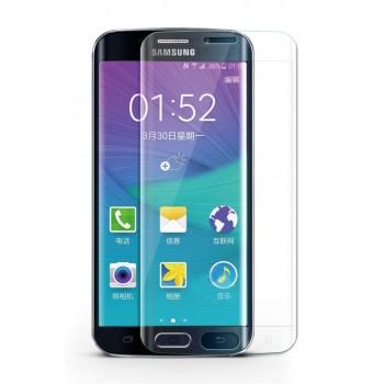 Ультратонкое износоустойчивое сколостойкое олеофобное защитное объемное стекло-пленка на плоскую и изогнутые поверхности экрана для Samsung Galaxy S6 Edge