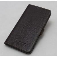 Кожаный чехол портмоне (нат. кожа крокодила) на пластиковой основе для Lenovo S660 Ideaphone Коричневый