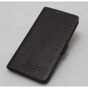 Кожаный чехол портмоне (нат. кожа крокодила) на пластиковой основе для Lenovo S660 Ideaphone