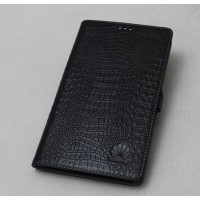 Кожаный чехол подставка (нат. кожа крокодила) для MediaPad X1 7.0 Черный