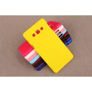 Пластиковый матовый непрозрачный чехол для Samsung Galaxy A5 Желтый