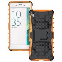 Противоударный двухкомпонентный силиконовый матовый непрозрачный чехол с нескользящими гранями и поликарбонатными вставками экстрим защиты с встроенной ножкой-подставкой для Sony Xperia XA Оранжевый