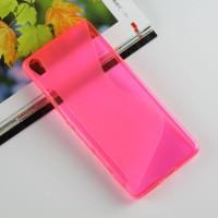 Силиконовый матовый полупрозрачный чехол с дизайнерской текстурой S для Sony Xperia XA Розовый