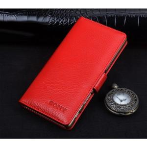 Кожаный чехол портмоне (премиум нат. кожа) с магнитной застежкой (на пластиковой основе) для Sony Xperia XA Красный