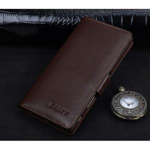 Кожаный чехол портмоне (премиум нат. кожа) с магнитной застежкой (на пластиковой основе) для Sony Xperia XA Коричневый