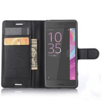 Чехол портмоне подставка на силиконовой основе на магнитной защелке для Sony Xperia X Performance Черный