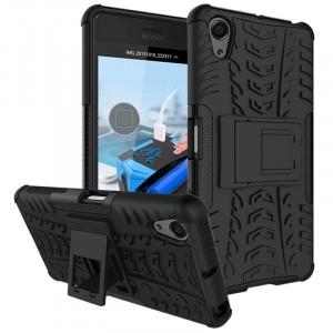 Противоударный двухкомпонентный силиконовый матовый непрозрачный чехол с поликарбонатными вставками экстрим защиты с встроенной ножкой-подставкой для Sony Xperia X Performance Черный