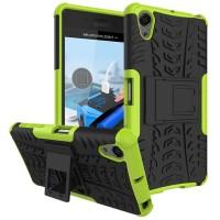 Противоударный двухкомпонентный силиконовый матовый непрозрачный чехол с поликарбонатными вставками экстрим защиты с встроенной ножкой-подставкой для Sony Xperia X Performance Зеленый
