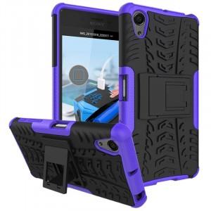 Противоударный двухкомпонентный силиконовый матовый непрозрачный чехол с поликарбонатными вставками экстрим защиты с встроенной ножкой-подставкой для Sony Xperia X Performance