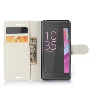 Чехол портмоне подставка на силиконовой основе на крепежной застежке для Sony Xperia X Белый