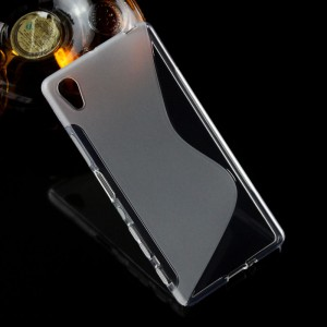 Силиконовый матовый полупрозрачный чехол с дизайнерской текстурой S для Sony Xperia X Серый