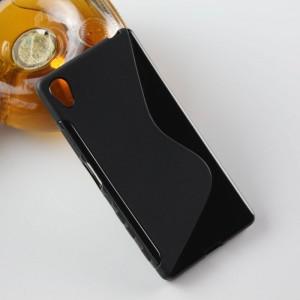 Силиконовый матовый полупрозрачный чехол с дизайнерской текстурой S для Sony Xperia X Черный