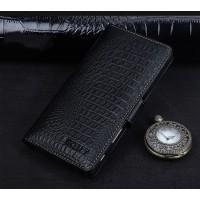 Кожаный чехол портмоне подставка (премиум нат. кожа крокодила) с крепежной застежкой для Sony Xperia X Черный