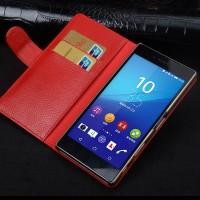 Кожаный чехол портмоне подставка (премиум нат. кожа) с крепежной застежкой для Sony Xperia X Красный