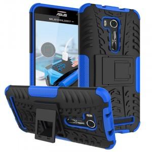 Противоударный двухкомпонентный силиконовый матовый непрозрачный чехол с поликарбонатными вставками экстрим защиты с встроенной ножкой-подставкой для ASUS Zenfone Go 5.5/Go TV Синий