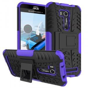 Противоударный двухкомпонентный силиконовый матовый непрозрачный чехол с поликарбонатными вставками экстрим защиты с встроенной ножкой-подставкой для ASUS Zenfone Go 5.5/Go TV Фиолетовый