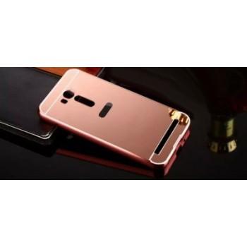 Двухкомпонентный чехол c металлическим бампером с поликарбонатной накладкой и зеркальным покрытием для ASUS Zenfone Go 5.5/Go TV