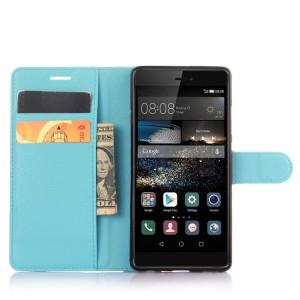 Чехол портмоне подставка на силиконовой основе на крепежной застежке для Huawei P9 Голубой