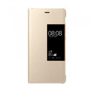 Оригинальный кожаный смартчехол горизонтальная книжка (премиум нат. кожа) на пластиковой основе с окном вызова для Huawei P9