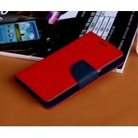Дизайнерский текстурный чехол портмоне подставка на силиконовой основе с магнитной защелкой для Samsung Galaxy Win Красный