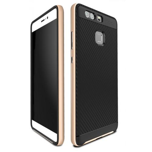 Двухкомпонентный силиконовый матовый непрозрачный чехол с поликарбонатным бампером для Huawei P9