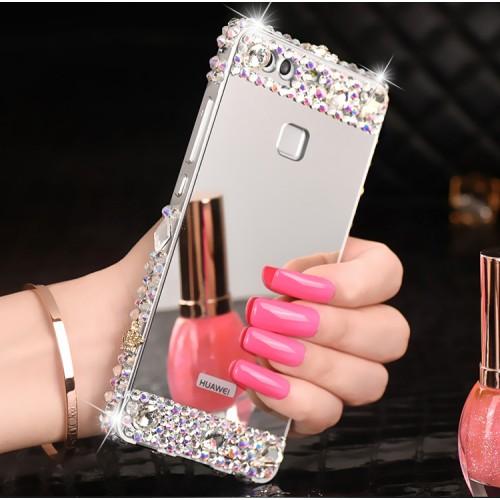 Двухкомпонентный чехол c металлическим бампером с ручной аппликацией стразами, поликарбонатной накладкой, зеркальным покрытием и стразами для Huawei P9