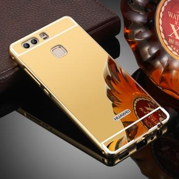 Двухкомпонентный чехол c металлическим бампером с поликарбонатной накладкой и зеркальным покрытием для Huawei P9