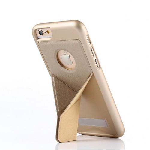 Пластиковый непрозрачный матовый чехол с подставкой оригами для Iphone 6/6s Бежевый
