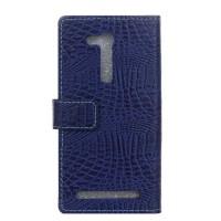 Чехол портмоне подставка текстура Крокодил на силиконовой основе на магнитной защелке для ASUS ZenFone Go 4.5 ZB452KG Синий