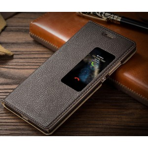 Кожаный чехол горизонтальная книжка подставка на пластиковой основе с окном вызова для Huawei P9 Коричневый