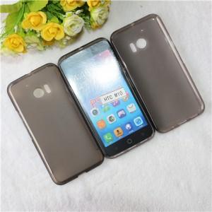 Силиконовый матовый полупрозрачный чехол для HTC 10  Серый