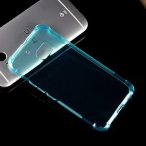 Силиконовый матовый полупрозрачный противоударный чехол с усиленными углами для HTC 10  Голубой