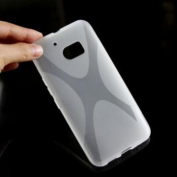 Силиконовый матовый полупрозрачный чехол с дизайнерской текстурой X для HTC 10