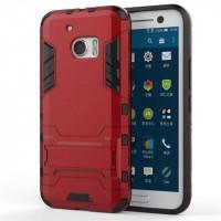 Противоударный двухкомпонентный силиконовый матовый непрозрачный чехол с поликарбонатными вставками экстрим защиты с встроенной ножкой-подставкой для HTC 10  Красный