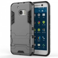 Противоударный двухкомпонентный силиконовый матовый непрозрачный чехол с поликарбонатными вставками экстрим защиты с встроенной ножкой-подставкой для HTC 10  Серый